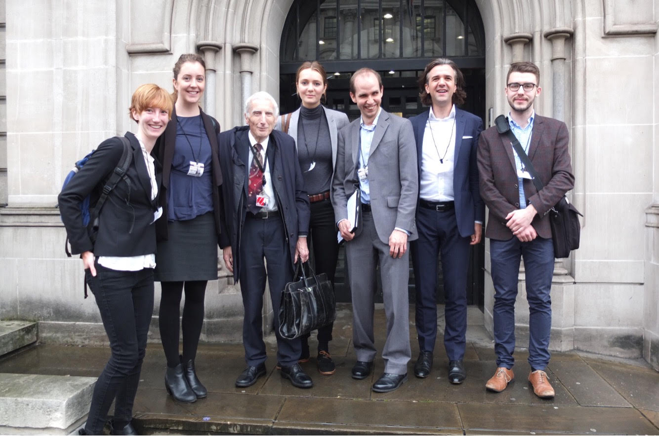 APPG for Future Generations team. L to R: Beth Barnes, Natalie Jones, Lord Martin Rees, Tildy Stokes, Simon Beard, Julius Weitzdörfer, Mark O'Brien